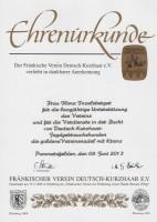 Die goldene Vereinsnadel mit Kranz DK Franken